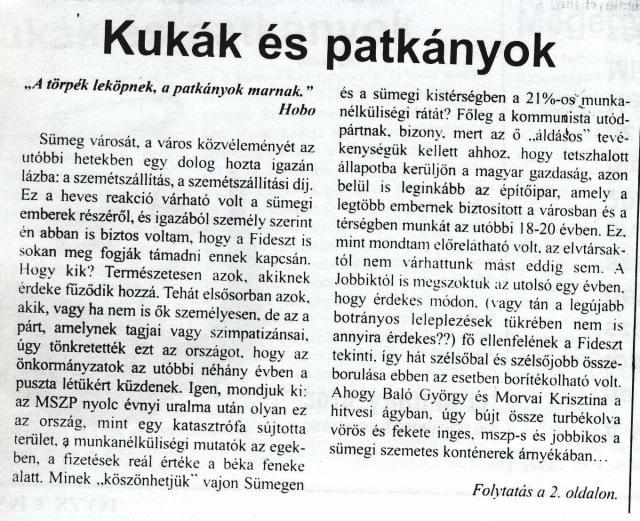 """""""Kukák és patkányok"""" írta Végh László I. rész"""